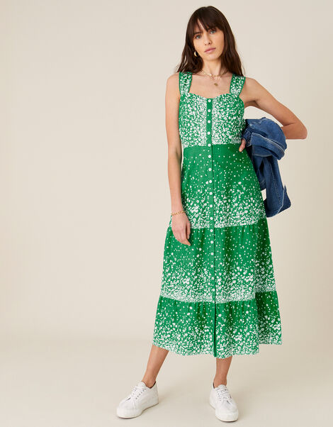 Flower Print Sundress in Organic Cotton  Green, Green (GREEN), large