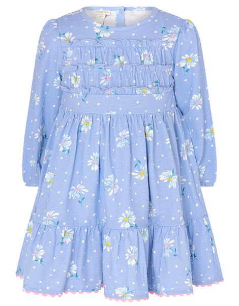Baby Daisy Jersey Dress in Organic Cotton Blue, Blue (BLUE), large