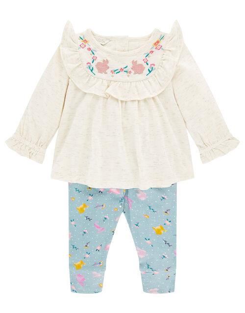 Newborn Baby Bunny Jersey Set, Blue (AQUA), large
