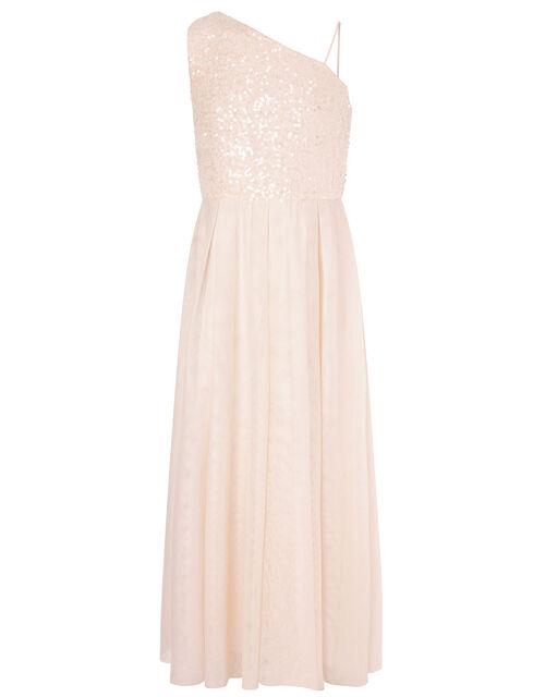 Sequin Bodice One-Shoulder Dress, Natural (CHAMPAGNE), large