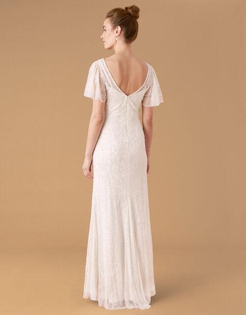 Kitty Embellished Flutter Sleeve Bridal Dress, Ivory (IVORY), large