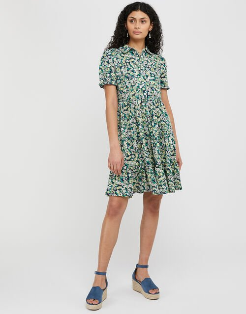 Reese Floral Jersey Mini Dress, Blue (NAVY), large
