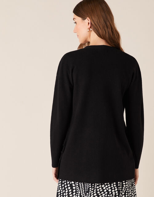 Button Side Edge-to-Edge Cardigan , Black (BLACK), large