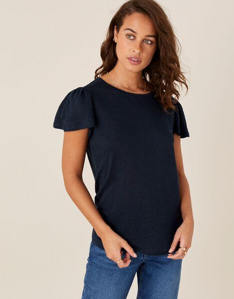 Flutter Sleeve T-Shirt in Pure Linen Blue, Blue (NAVY), large