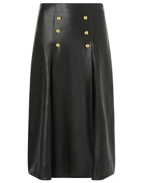 Gold Button Leather-Look Skirt, Black (BLACK), large