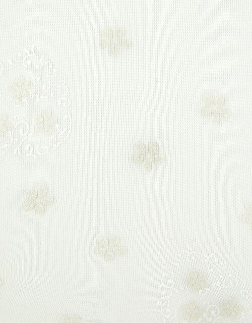 Girls Swirly Heart Flower Tights, Ivory (IVORY), large
