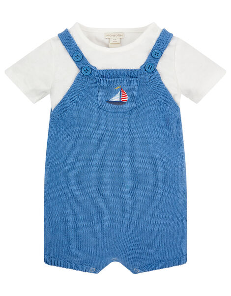 Newborn Baby Boat Dungarees Set Blue, Blue (BLUE), large