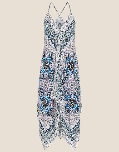 Geo Print Hanky Hem Dress, Blue (BLUE), large