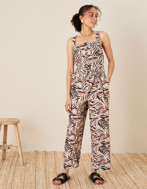 Palm Print Poplin Jumpsuit Natural, Natural (STONE), large