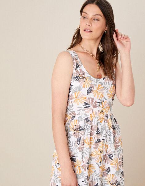 Palm Print Sundress in Linen Blend Natural, Natural (STONE), large
