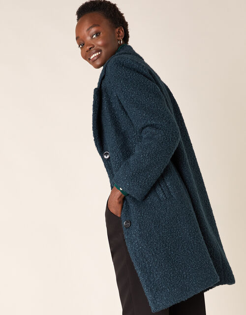 Boucle Single Breasted Long Coat, Teal (TEAL), large