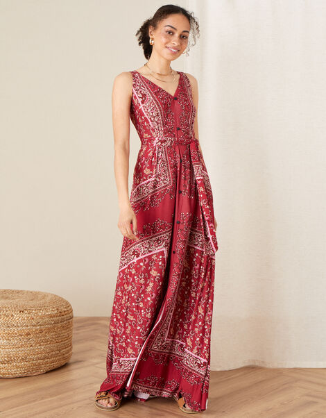 Scarf Print Jersey Maxi Dress Red, Red (RED), large