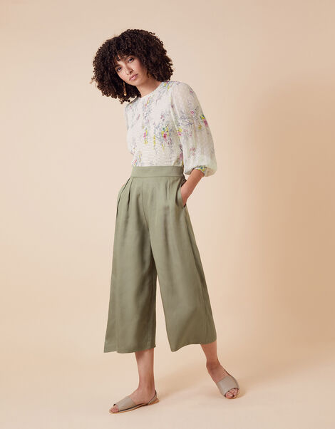 Cropped Trousers in LENZING™ ECOVERO™ Green, Green (KHAKI), large