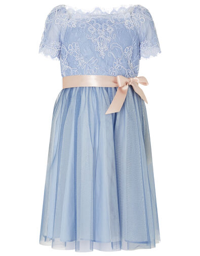 Lace Bodice Off-Shoulder Dress Blue, Blue (BLUE), large