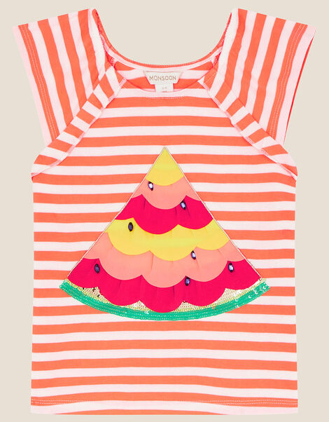 Sequin Watermelon Stripe Top Orange, Orange (ORANGE), large