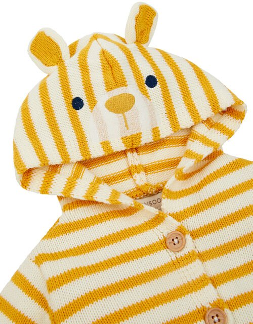 Newborn Bear Stripe Knit Cardigan, Yellow (MUSTARD), large