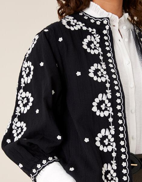 Floral Embroidered Jacket in Organic Cotton Black, Black (BLACK), large