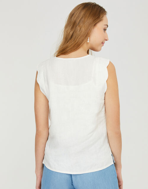 Lotus Scallop Sleeveless Top in Pure Linen, White (WHITE), large