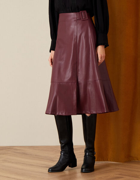 Belted Leather-Look Skirt Purple, Purple (PURPLE), large