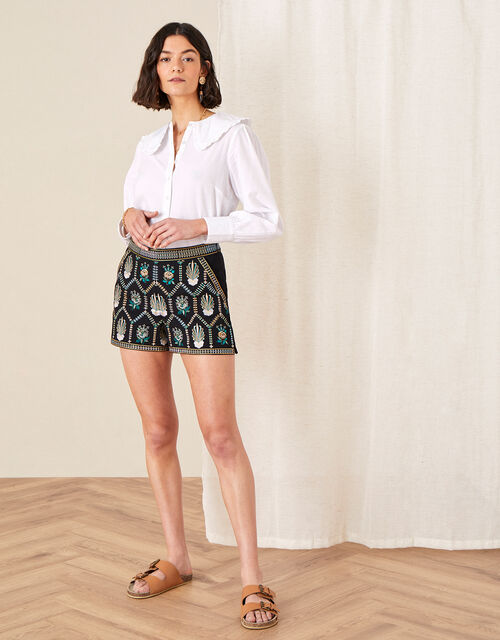 Embroidered Shorts in Pure Cotton, Black (BLACK), large