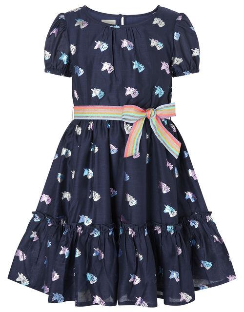 Unicorn and Rainbow Dress, Blue (NAVY), large