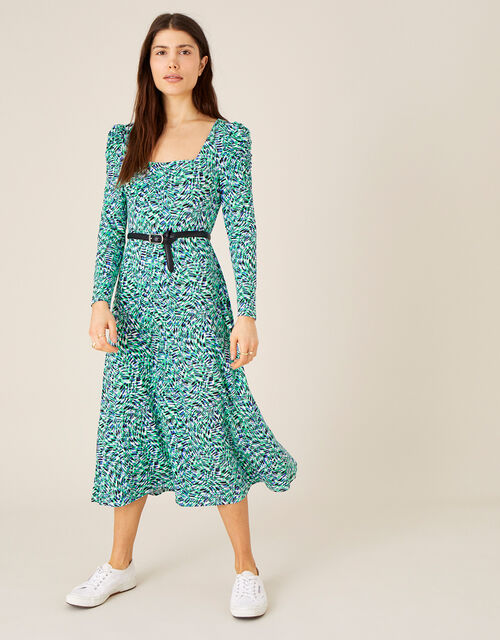 Printed Square Neck Jersey Midi Dress, Green (GREEN), large