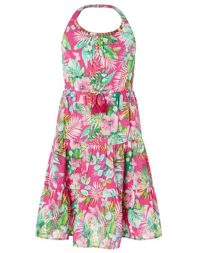 Palm Print Halter Midi Dress in Organic Cotton Pink, Pink (PINK), large