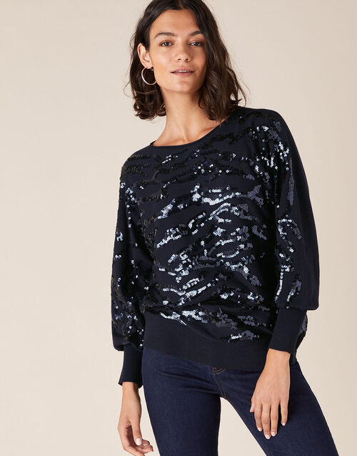 Sequin Animal Knit Jumper with LENZING™ ECOVERO™, Blue (NAVY), large