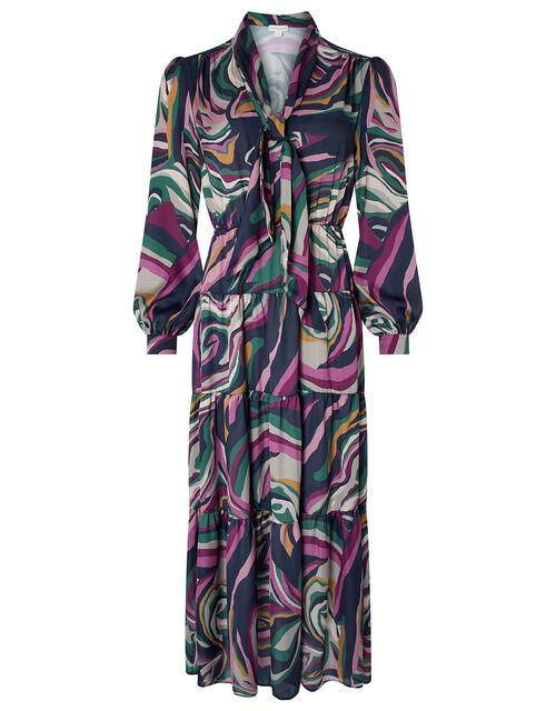 Maddie Marble Print Tier Midaxi Dress, Navy, large