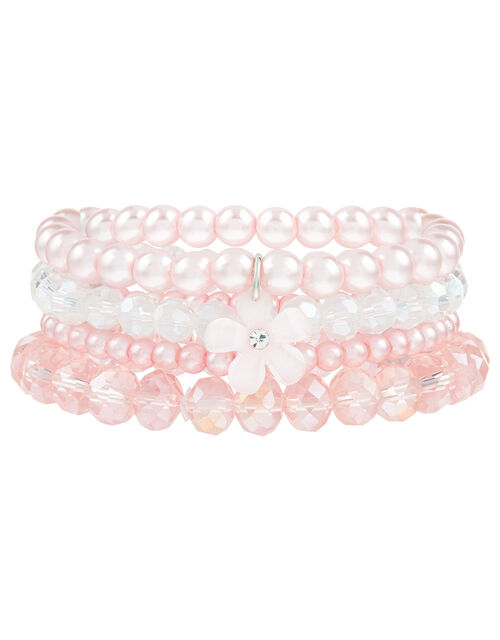 Pearl and Crystal Bracelets with Flower Charm, , large