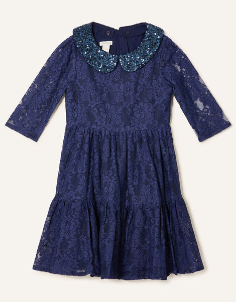 Lace Dress with Detachable Collar  Blue, Blue (NAVY), large
