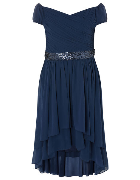 Abigail Bardot Prom Dress Blue, Blue (NAVY), large