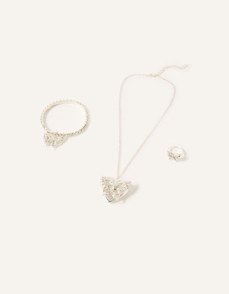 Sparkle Butterfly Locket Jewellery Set, , large