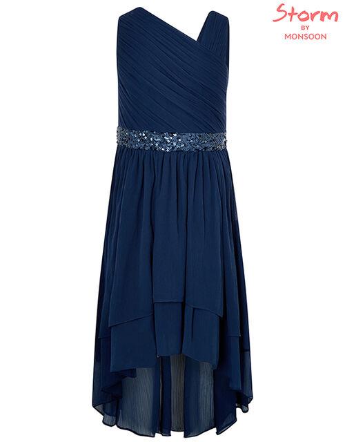Abigail Sequin One-Shoulder Prom Dress, Blue (NAVY), large