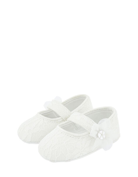 Baby Tiana Shimmer Lace Corsage Booties Ivory, Ivory (IVORY), large