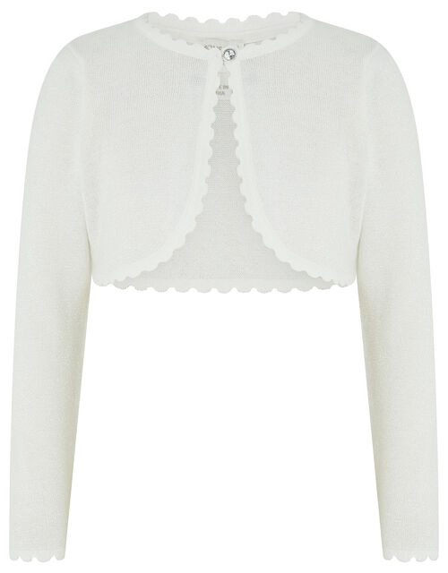 Niamh Sparkle Knitted Cardigan with Crystal Button, Ivory (IVORY), large