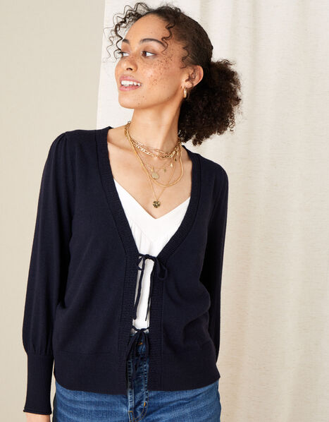 Tie Front Cardigan Blue, Blue (NAVY), large