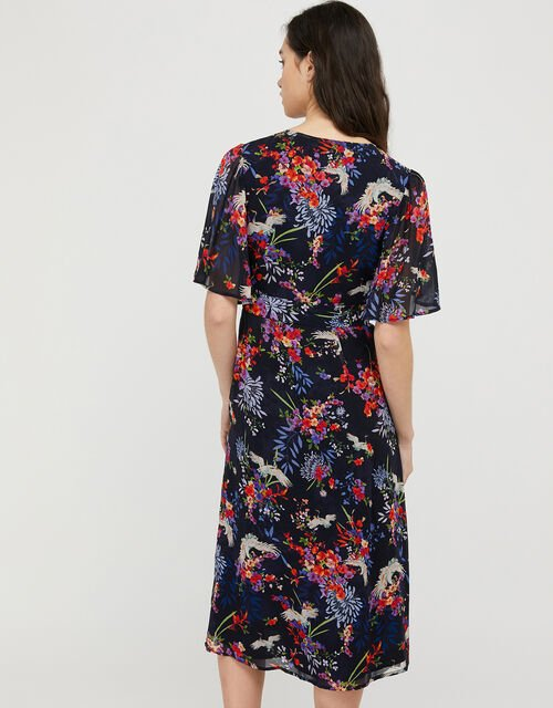 Oaklyn Bird and Floral Tea Dress, Blue (NAVY), large