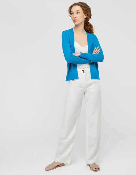 Esmie Lightweight Knit Cardigan in Linen Blend Blue, Blue (BLUE), large