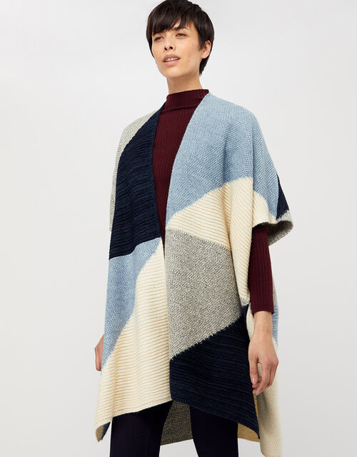 Polly Colour-Block Knit Poncho, Blue, large