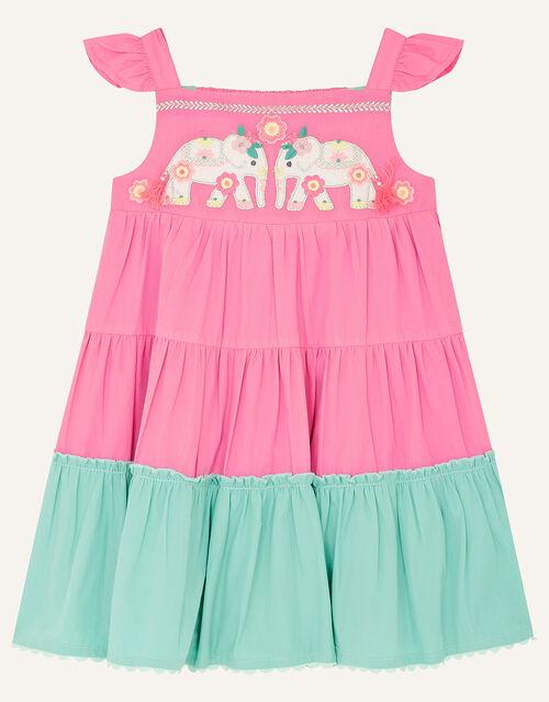 Baby Elephant Colourblock Dress, Pink (PINK), large
