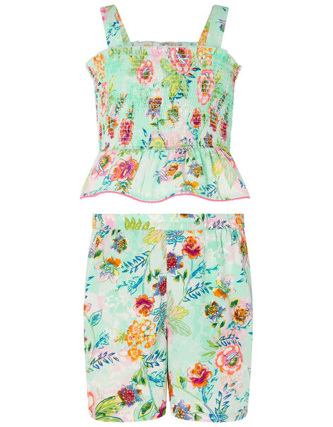 Bessie Floral Vest and Shorts Set Blue, Blue (BLUE), large