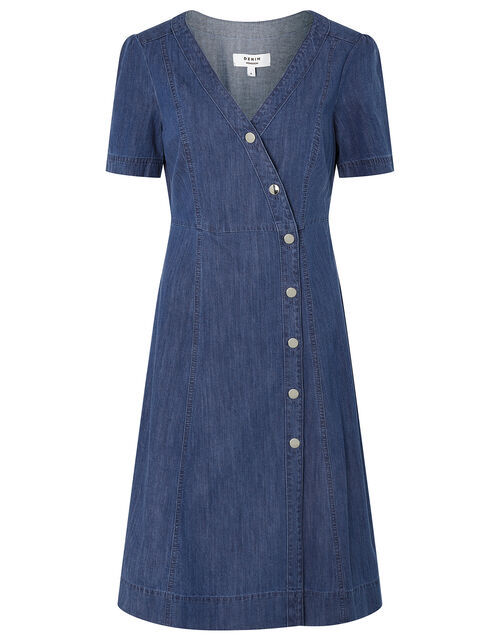Denim Wrap Midi Dress, Blue (DENIM BLUE), large