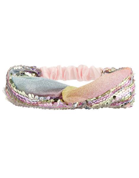 Rainbow Sequin Bando Headband, , large