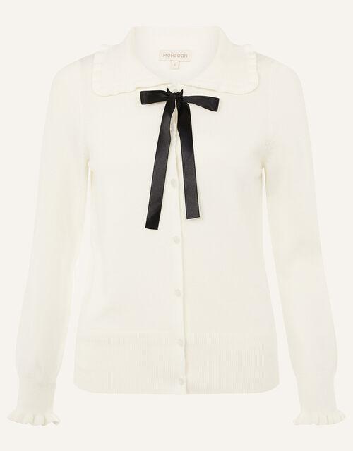 Ribbon Tie Frill Cardigan, Ivory (IVORY), large