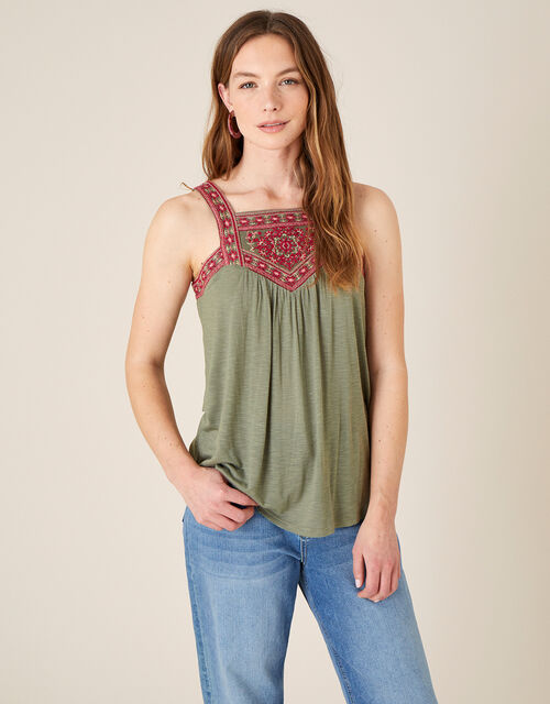 Embroidered Jersey Sleeveless Top, Green (KHAKI), large