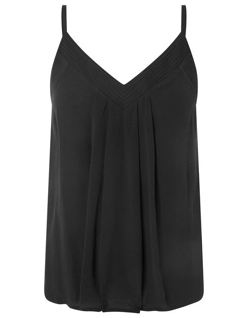 Pleated Trim Cami with Sustainable Viscose, Black (BLACK), large