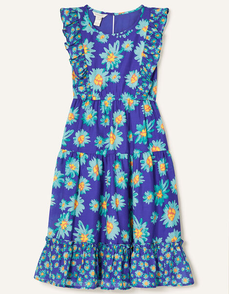 Daisy Print Midi Dress Blue, Blue (BLUE), large