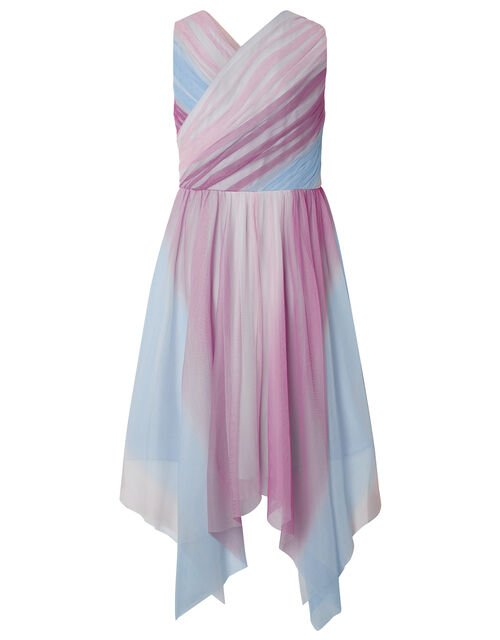 Arianna Ombre Pleated Tulle Prom Dress, Pink (PINK), large