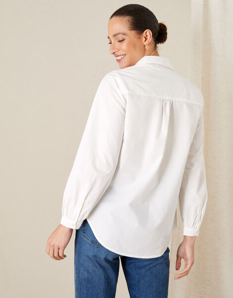 Evalina Pintuck Poplin Shirt White, White (WHITE), large